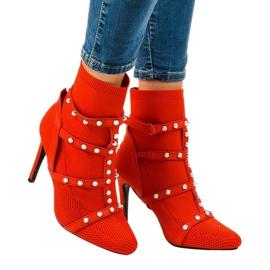 Crvene čizme na petu od AT-0655-L tkanine crvena