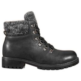 SHELOVET Crne čizme sa čipkama crna
