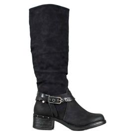 SHELOVET Čizme s ukrasnim pojasom crna