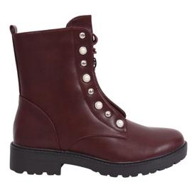 Čizme čipkasto bordo vino BH123-KB crvena