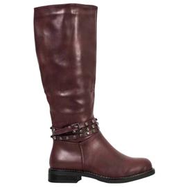 SHELOVET Burgundske čizme s kubičnim cirkonijem crvena