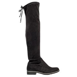 J. Star Suede čizme s visokim bedrima crna