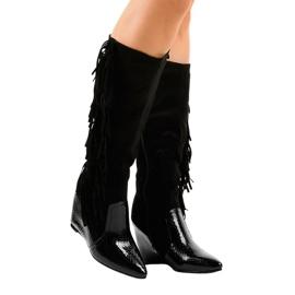 Suede ženske čizme na klin T81 crna