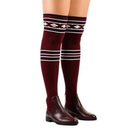 Čarape s visokim bedrima maroon 29-7 crvena