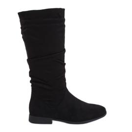 Crne čizme na ravnim petama M629 Crne crna