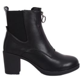 Crne čizme na udobnoj potpetici crne SG-363 crne crna