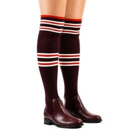 Čarape s burgundskim bedrima FD-69 crvena