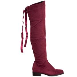 SHELOVET Suede čizme s vezanjem crvena