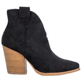 Bella Paris Suede kaubojske čizme na stupu crna