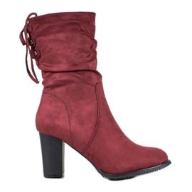 J. Star Visoke burgundske čizme crvena
