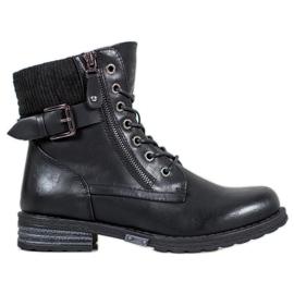J. Star Čipkaste čizme od eko kože crna