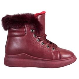 SHELOVET Vezane čizme s krznom crvena
