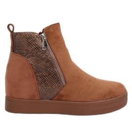 Čizme na skrivenom klinastom kamilu RQ235 Camel smeđ