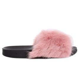 Ružičaste papuče s krznom ružičaste CK107P Pink roze