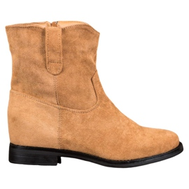 Ideal Shoes Tople kaubojske čizme na klin smeđ