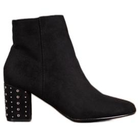 Nio Nio Klasične čizme s rhinestones crna