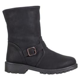 SHELOVET Čizme s ovčjom kožom crna