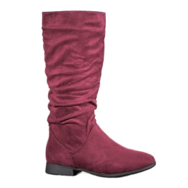 SHELOVET Suede čizme iznad koljena crvena