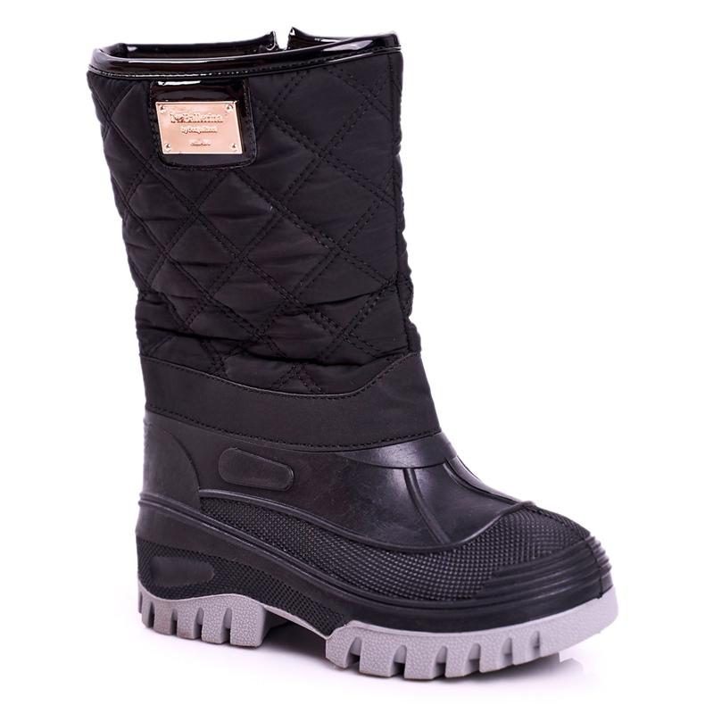 Apawwa Dječje čizme za snijeg izolirane krznom Crna Mussi
