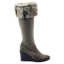 Caprice čizme čizme ženske kože 25607 siva