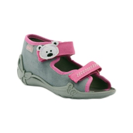 Papuče sandale na čičak cipeli Befado 242p073 ružičasta siva bijela 1