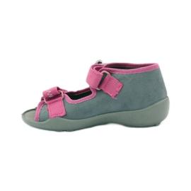 Papuče sandale na čičak cipeli Befado 242p073 ružičasta siva bijela 2