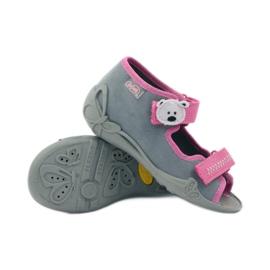 Papuče sandale na čičak cipeli Befado 242p073 ružičasta siva bijela 3