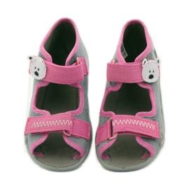 Papuče sandale na čičak cipeli Befado 242p073 ružičasta siva bijela 4