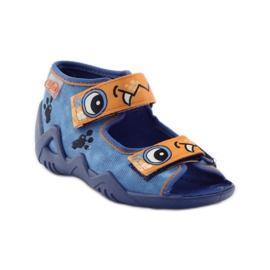 Plave papuče Velcro Befado 250p065 naranča plava 1