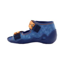 Plave papuče Velcro Befado 250p065 naranča plava 2