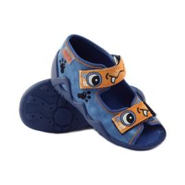 Plave papuče Velcro Befado 250p065 naranča plava 3