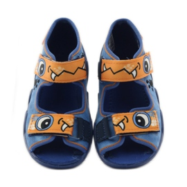 Plave papuče Velcro Befado 250p065 naranča plava 4