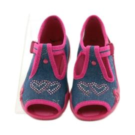 Papuče Befado 213p101 sa srcem mornarsko plava ružičasta 4