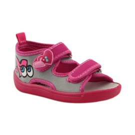 American Club Papuče američke sandale od kože ružičasta siva 1