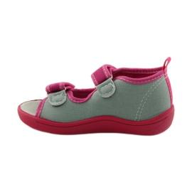 American Club Papuče američke sandale od kože ružičasta siva 2