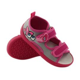 American Club Papuče američke sandale od kože ružičasta siva 3