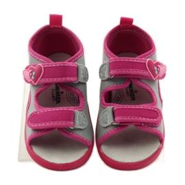 American Club Papuče američke sandale od kože ružičasta siva 4