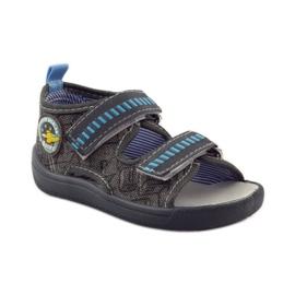 American Club Papuče američke sandale od kože siva plava 1