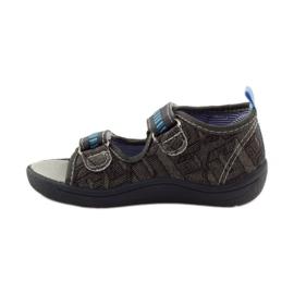American Club Papuče američke sandale od kože siva plava 2