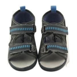 American Club Papuče američke sandale od kože siva plava 4