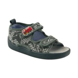 American Club Papuče američke sandale od kože siva bijela 1