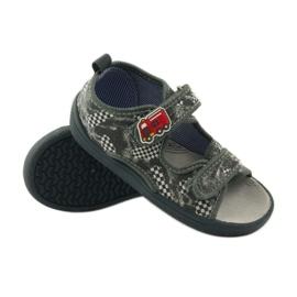 American Club Papuče američke sandale od kože siva bijela 3