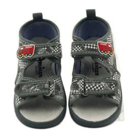 American Club Papuče američke sandale od kože siva bijela 4