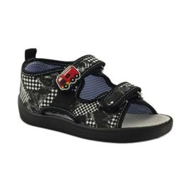 American Club Papuče američke sandale od kože bijela crno 1