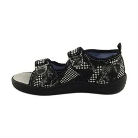 American Club Papuče američke sandale od kože bijela crno 2