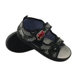 American Club Papuče američke sandale od kože bijela crno 3