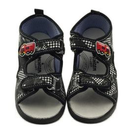 American Club Papuče američke sandale od kože bijela crno 4