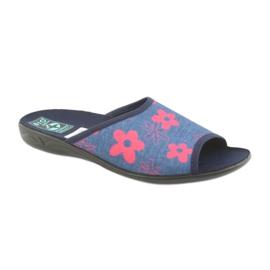 Ženske papuče u cvijeću Adanex mornarsko plave boje 1