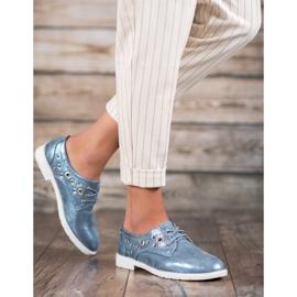 SHELOVET Vezane cipele s eko kožom plava 2