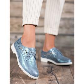 SHELOVET Vezane cipele s eko kožom plava 3